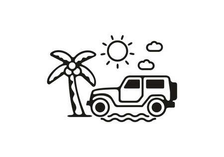 Offroad beach line art illustration design