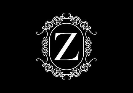 Black initial Z letter in classic frame design Vektorgrafik