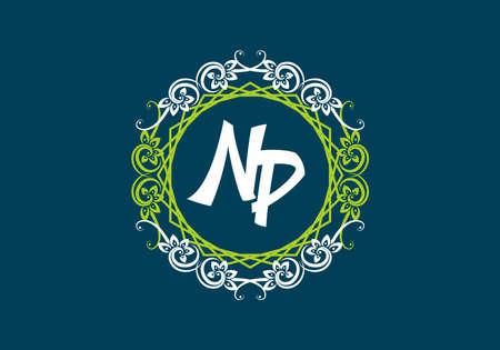 NP initial letter in vintage circle frame design