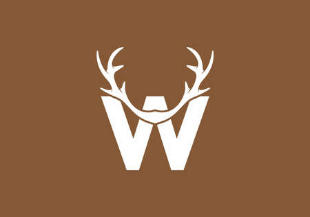 White brown color of W initial letter with deer horn design