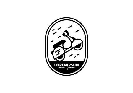 wheelie scooter line art illustration design