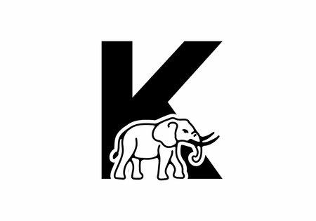 Initial letter K with elephant shape line art design
