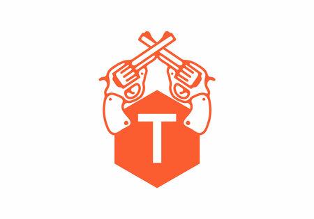 Two guns line art illustration with T initial letter design Vektoros illusztráció