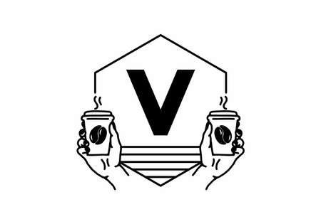Hand holding a coffee cup line art with V initial letter design