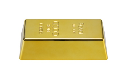 gold bullion: 1000 g gold bar isolated on a white background with clipping path