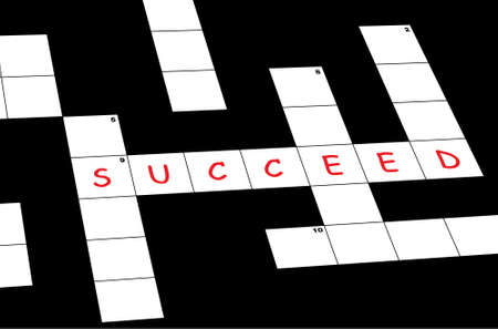Crossword puzzle with succeed word written Illustration