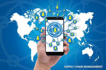 hands holding the phone Supply Chain Management concept on blue background