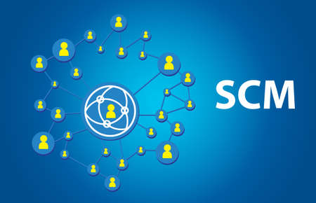 variance: Supply Chain Management concept on blue background with social icons.