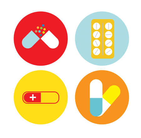 Médicaments icône plat Banque d'images - 51636100