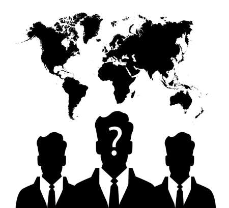 anonym: silhouette of group unknown people on earth map background