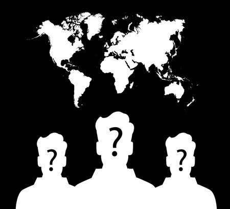 high damage: silhouette of group unknown people on earth map background