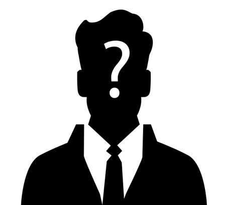 suspicious: Businessman silhouette with question mark sign - anonymous & suspicious concept Illustration