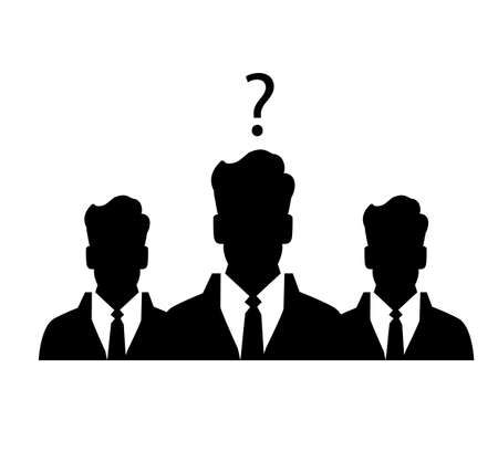 recruit suit: Three businessman silhouettes - vector icon