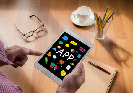 smart woman: Apps concept, touch digital tablet, coffee Stock Photo
