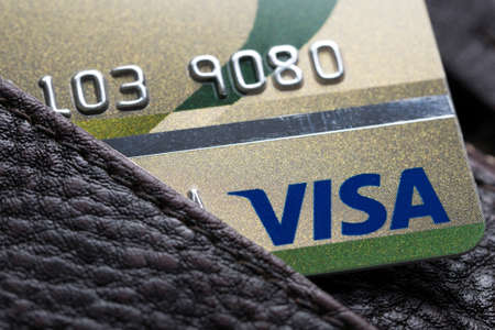 visa credit card: Bangkok, Thailand - 24 feb 2016 : close up of credit cards ,VISA card,   in the leather wallet , product shot Stock Photo