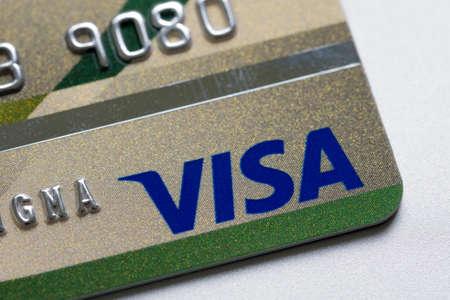 tarjeta visa: Bangkok, Tailandia - 24 Feb 2016: Cierre de tarjetas de crédito, tarjeta Visa, producto tiro Editorial