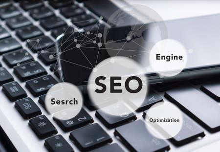 meta tags: Search engine optimization ( SEO ) concept, social media diagram on digital tablet computer as internet concept