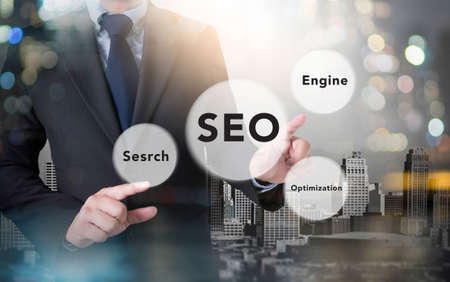 backlink: businessman working with modern technology, Search engine optimization ( SEO ) concept