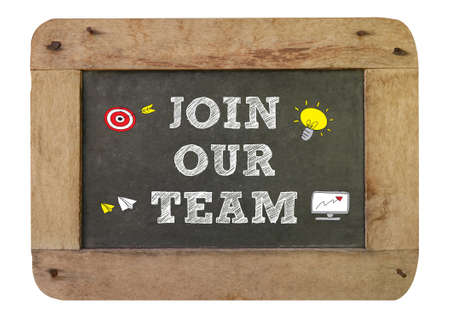 re employment: Join our team Concept , vintage blackboard with wooden frame isolated on white background. chalkboard