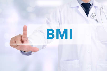 excess: Doctor hand touching BMI sign on virtual screen