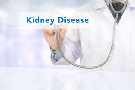nephron: Medicine doctor hand working, Kidney Disease Stock Photo