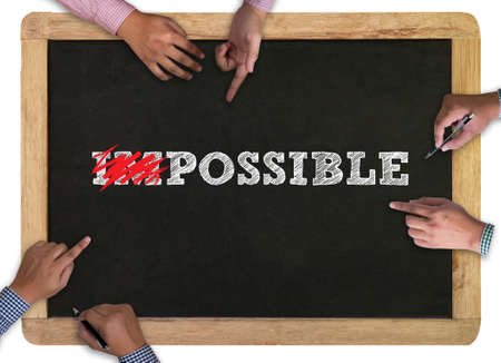 probable: Impossible concept vintage blackboard with wooden frame background. , chalkboard Stock Photo