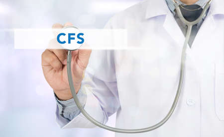 consolidated: CFS CONCEPT (Consolidated Financial Statement) Medicine doctor hand working on virtual screen Stock Photo