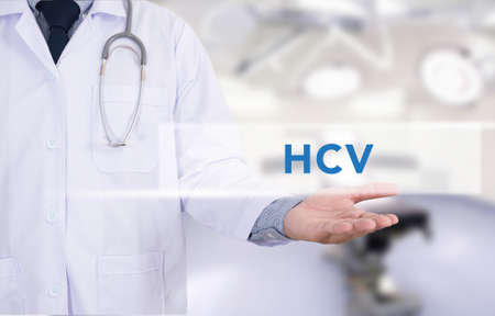 remission: Diagnosis - HCV CONCEPT ,Medicine doctor hand working Stock Photo