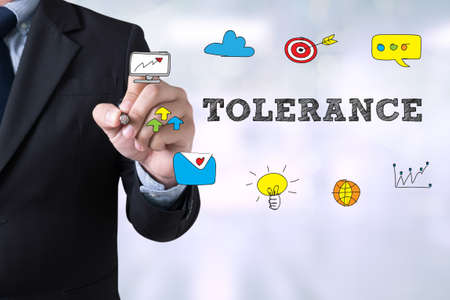 tolerate: Businessman drawing Landing Page TOLERANCE CONCEPT