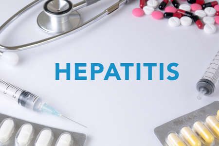 genotype: HEPATITIS CONCEPT Text, On Background of Medicaments Composition, Stethoscope, mix therapy drugs doctor Stock Photo
