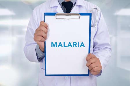 life threatening: MALARIA  CONCEPT Medical Portrait of a doctor writing a prescription