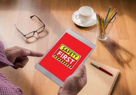 safety first: Safety First Warning concect touch digital tablet, coffee