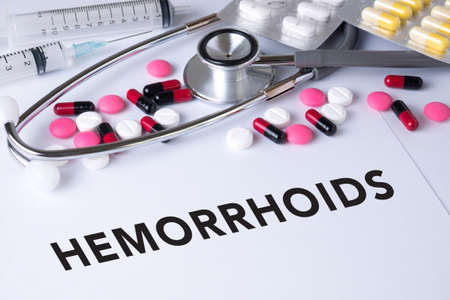 hemorrhoids: HEMORRHOIDS Background of Medicaments Composition, Stethoscope, mix therapy drugs doctor flu antibiotic pharmacy medicine medical