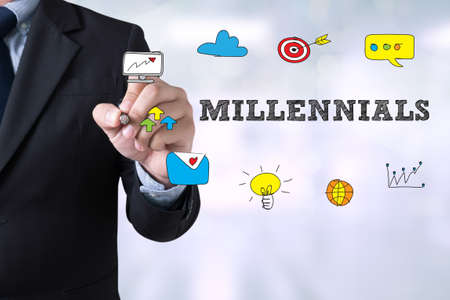 MILLENNIALS CONCEPT Businessman drawing Landing Page on blurred abstract background Stock Photo