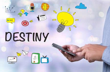 destiny: DESTINY CONCEPT person holding a smartphone on blurred cityscape background