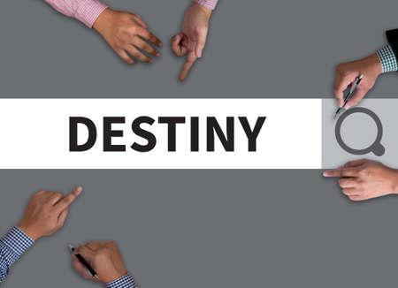 destiny: DESTINY CONCEPT vintage blackboard with wooden frame on white background.