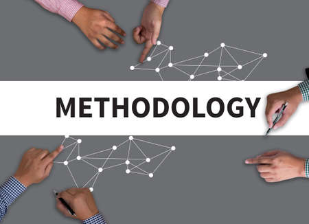 methodology: METHODOLOGY CONTEPT vintage blackboard with wooden frame on white background.