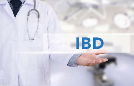 bowel: IBD - Inflammatory Bowel Disease. Medical Concept Medicine doctor hand working Stock Photo