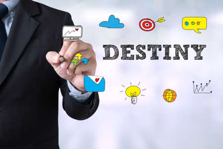 destiny: DESTINY CONCEPT Businessman drawing Landing Page on blurred abstract background Stock Photo