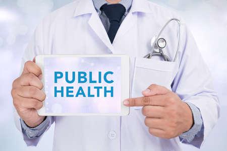 PUBLIC HEALTH CONCEPT Doctor holding digital tablet