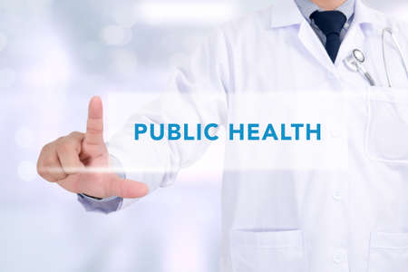 PUBLIC HEALTH CONCEPT Medicine doctor working with computer interface as medical Stock Photo