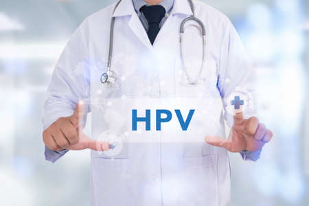 HPV CONCEPT Medicine doctor hand working Stock Photo