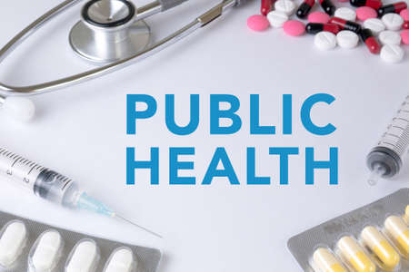 PUBLIC HEALTH CONCEPT Text, On Background of Medicaments Composition, Stethoscope, mix therapy drugs doctor flu antibiotic pharmacy medicine medical