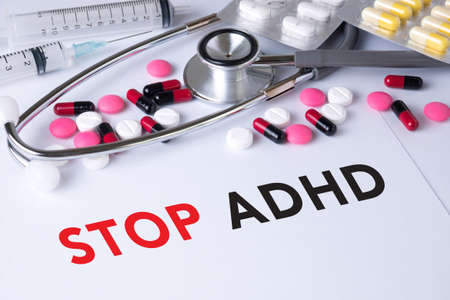 adhd: STOP ADHD Background of Medicaments Composition, Stethoscope, mix therapy drugs doctor flu antibiotic pharmacy medicine medical