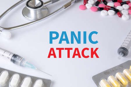 panic attack: PANIC ATTACK Text, On Background of Medicaments Composition, Stethoscope, mix therapy drugs doctor flu antibiotic pharmacy medicine medical