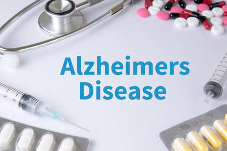 senility: Alzheimers Disease concept Text, On Background of Medicaments Composition, Stethoscope, mix therapy drugs doctor flu antibiotic pharmacy medicine medical