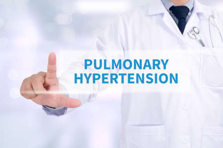 pulmonary: PULMONARY HYPERTENSION Medicine doctor working with computer interface as medical