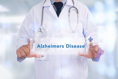 memory loss: Alzheimers Disease concept Medicine doctor hand working Stock Photo