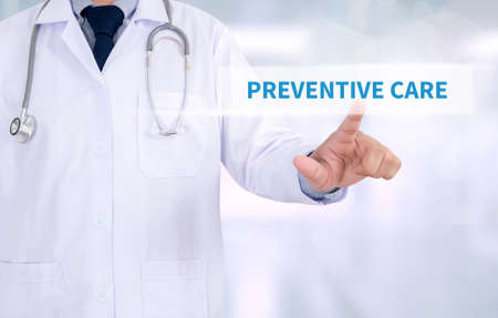 preventive medicine: PREVENTIVE CARE  Medicine doctor working with computer interface as medical