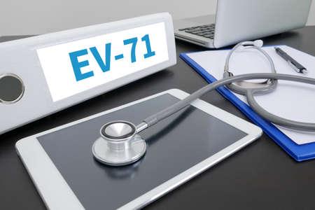 enteric: EV-71 folder on Desktop on table. Stock Photo